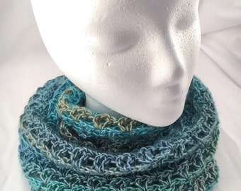 Hand Crocheted Infinity Scarf Ready to Ship, Red Heart Boutique Unforgettable, soft yarn, blue, green
