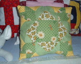 Lucky Green Quilt Block Pillow