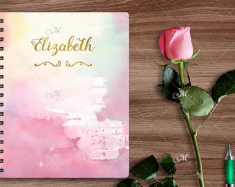 Mock-up of Personalized Spiral Notebook/Mock-up for Custom Journal/Personalized Gifts/PSD