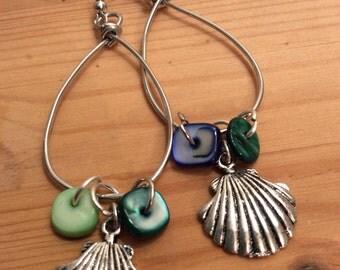 Sea Shell Charm Wire Hoop Earrings