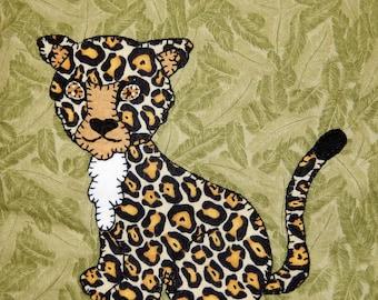 Cheetah PDF animal applique pattern;African safari animal quilt block; leopard quilt block; baby quilt pattern; child's quilt pattern