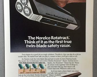 1981 Norelco Rotatract Electric Razor Print Ad