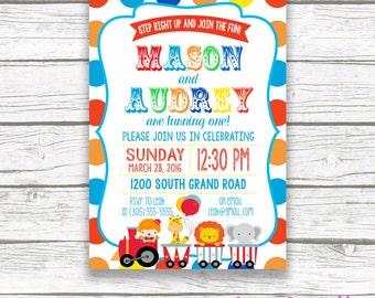 Twin Circus Birthday Party Invitation, Boy Girl Twins, Polka Dot Carnival Birthday Invitation, First 1st Birthday, Printable Invitation