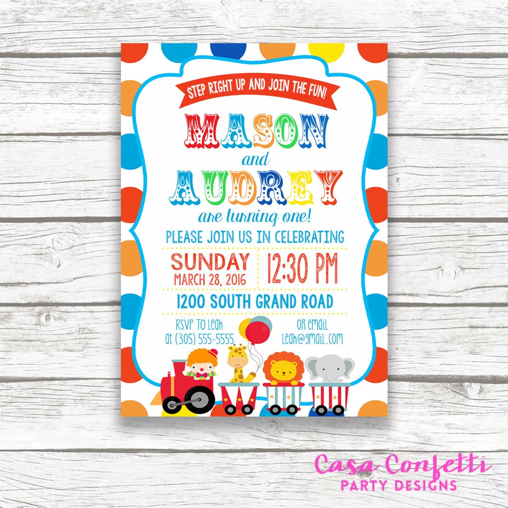 Twin Circus Birthday Party Invitation Boy Girl Twins Polka Dot – Twin 1st Birthday Invitations