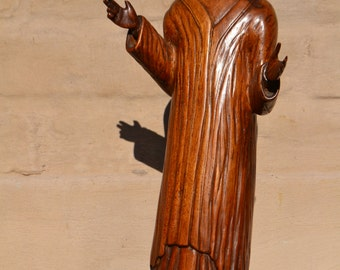 Antique Religious French Statue of Christ Jesus in Wood Gothic #5465