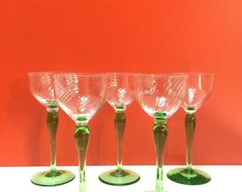 Vintage Green Stemmed Wine Glasses, Set of 5