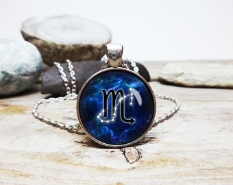 Pink or Blue Scorpio Necklace Astrology Gift for Scorpio Necklace great birthday gift Constellation Stars and Scorpio sign on nebula