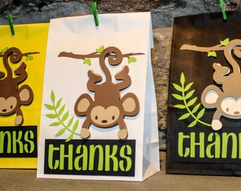 Monkey Theme Party Favor Gift Bag and Cupcake Toppers