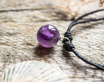 Amethyst Crystal Ball Necklace, Vegan Cotton Cord, Adjustable,  Natural Gemstone Necklaces, Ladies Jewelry, Boho, Choker, Long - #AN2037