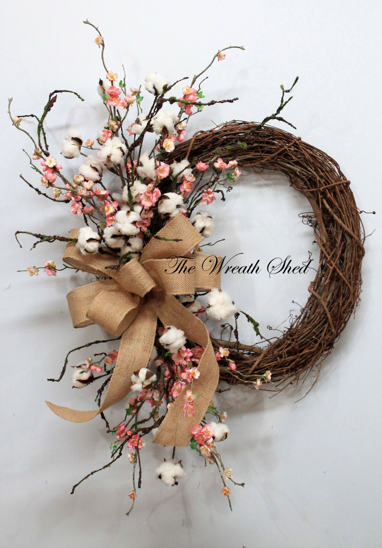 Blossom Cotton Boll Wreath Natural Cotton Bolls Wedding