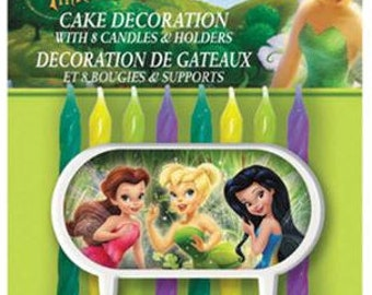 Tinker Bell and the Disney Fairies Cake Decoration With 8 Birthday Candles & Holders