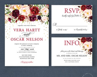 Fall Floral Wedding Invitation Suite, Autumn Winter Wedding Invite Set, Marsala Mulberry Blush Gold, Rustic Boho Chic Bohemian Style - Vera