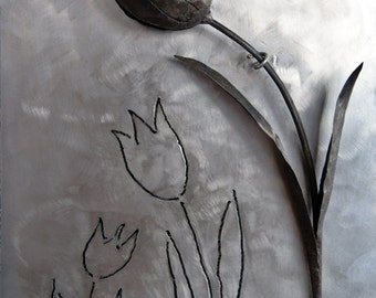 Black tulip wrought iron over inox plate forged metal flower steel wall decor fine art wall sculpture bridal gift love housewarming gift