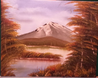landscape oil painting Waters of the mountain