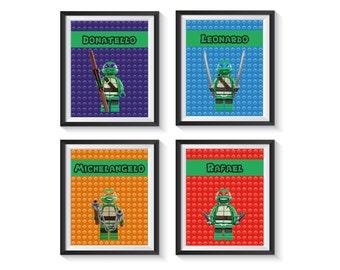 teenage mutant ninja turtle art prints tmnt bedroom playroom boy decor qty