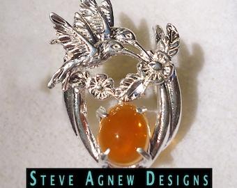 Fire Opal Hummingbird Pendant