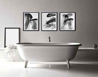 Photography Triptych Ballet in black and white jellyfish, Fine Art Print, Decorative Bathroom, photo printing, graceful curve