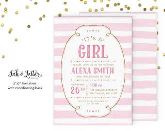 Pink and Gold Baby Shower Invitation - Pink Baby Shower Invitation - Girl Baby Shower Invitation - Printable Shower Invitation - Digital