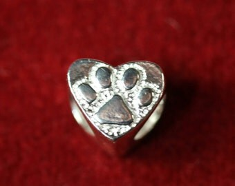 Sterling Silver 925 Heart Charm (Dog Paw Double Sided Design)