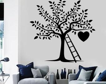 Wall Decal Tree Branch Nature Heart Ladder Romantic Vinyl Sticker Art 1423dz