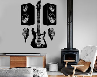 Wall Vinyl Music Rock Guitar Microphone Guaranteed Quality Decal Mural Art 1528dz