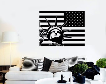 Wall Vinyl USA Flag Statue Of Liberty New York Cool Decal Mural Art 1622dz