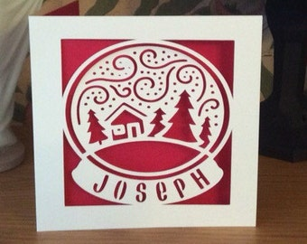 Papercut - Personalised Snow Globe Christmas Card