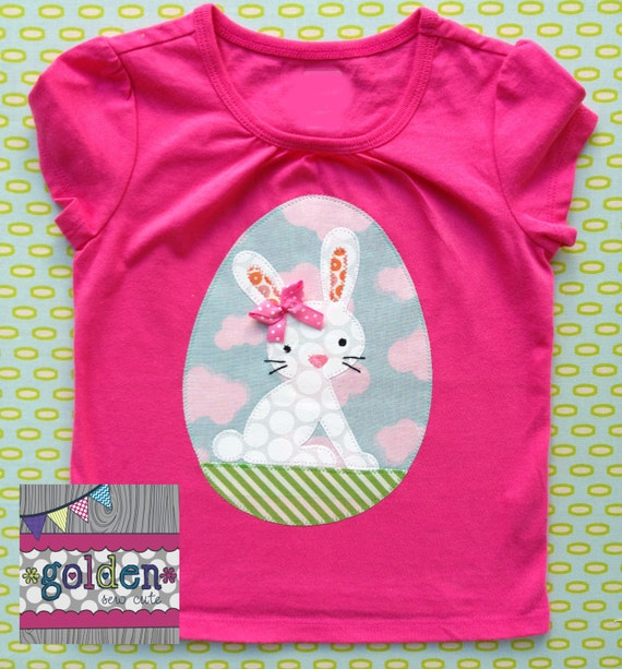 Easter Bunny with Bow, Easter Egg, Girl Spring Tee