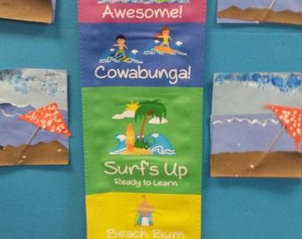 Surfer / Beach  Behavior Chart - 1' x 4' - Classroom - Teacher - Homeschool