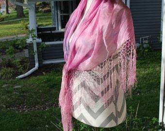 Pink 100% silk Shawl Fringes