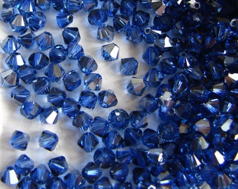 Swarovski Crystal Bicone Beads 5328 Sapphire Satin 4mm. Swarovski Crystal Beads, 4mm Blue Beads