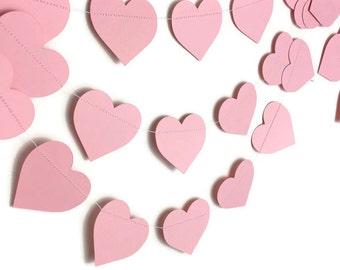 Party Decorations - Wedding Decor - Valentine's Day Garland - Heart Decorations- Pink Garland - Pink Heart Garland - Heart Garland - 10 Feet