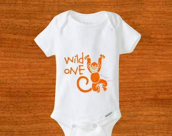Wild one Bodysuit. Orangutan bodysuit. Wild one tshirt. Baby bodysuit. Baby clothes. Baby shower gift. Newborn outfit. Take home outfit