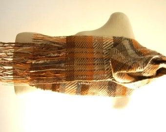 Handwoven Scarf Wool Scarf Handwoven Wool Scarf Plaid Scarf Blanket Scarf Wool Blanket Scarf Wool Plaid Scarf Brown Grey Orange Weaving