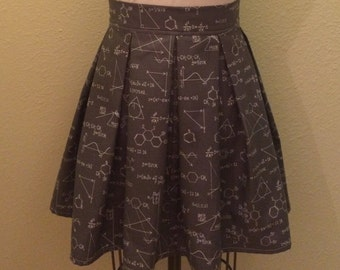 New Print! Science and Math Printed Adult High Waisted Skater Skirts