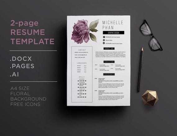 elegant 2 page cv template    2 page resume violet floral