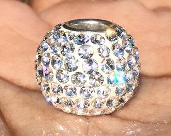 Big White Swarovski Crystal Bead Charm, Charm Bracelet Charm, Charmed Memories, Breast Cancer Awareness