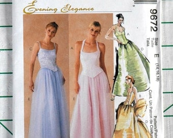 McCall's 9672 Evening Elegance Sewing Pattern Top Skirt Wedding Bride Dress Halter Formal Wrap Stole Prom Size 14 16 18 Bust 36 38 40 UNCUT
