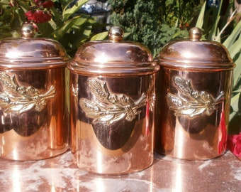 french Vintage Copper Spices jar - Vintage spice jars in copper
