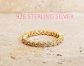 2 mm Sterling Silver Full Eternity Gold Plated Band MILGRAIN Bezel CZ Stacking Ring Anniversary Ring gold plated CZ diamond bezel band