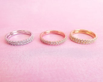 2 Stacking Ring Set 1.5 mm Full Eternity Wedding band set High Quality CZ diamond Sterling Silver Micro Pave Engagement Wedding Bands