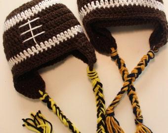 Crochet Football Earflap Hats