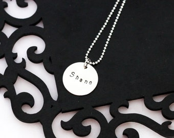 Personalized Mommy necklace - 1 disc, hand stamped name, straight