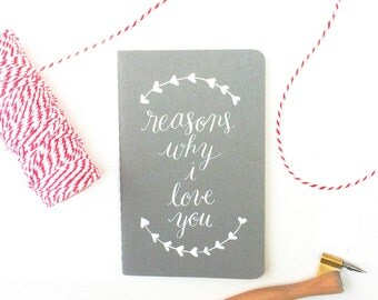 Personalized Calligraphy Journal-Handwritten Journal-Personalized Moleskine Journal-Reasons Why I Love You