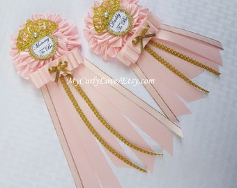 princess mommy to be baby shower baby shower daddy to be corsage