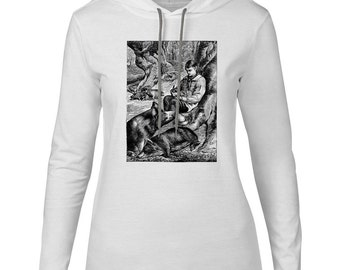 Mintage Pigs in the Forest  Womens Fine Jersey Hooded T-Shirt