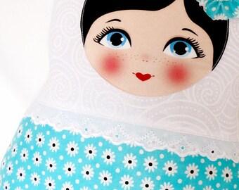 "Babushka matryoshka softie plush doll pillow gift, large, 42cm/16.5"" tall, adorable white and light blue"