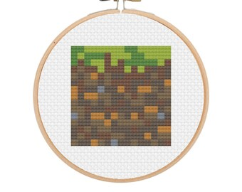 Minecraft Inspired Grass Block Cross Stitch PATTERN