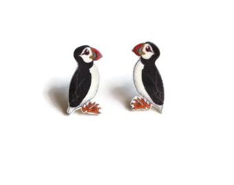 Puffin Earrings, Seabird, Sea Parrot Stud Earrings