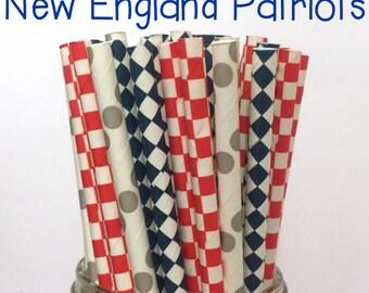 2.85 US Shipping -New England Patriots - Blue/Red/Gray straws - Cake Pop Sticks - Drinking Straws